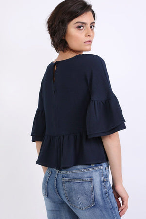 Drop Shoulder Deep Frill Sleeve And Hem Boxy Top in Navy Blue 2