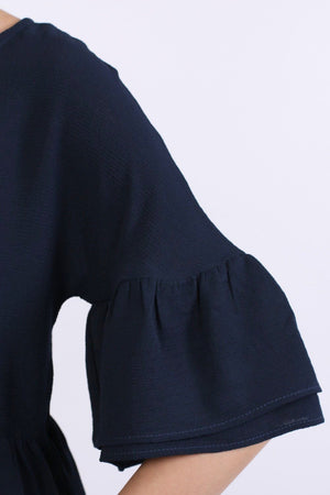 Drop Shoulder Deep Frill Sleeve And Hem Boxy Top in Navy Blue 3