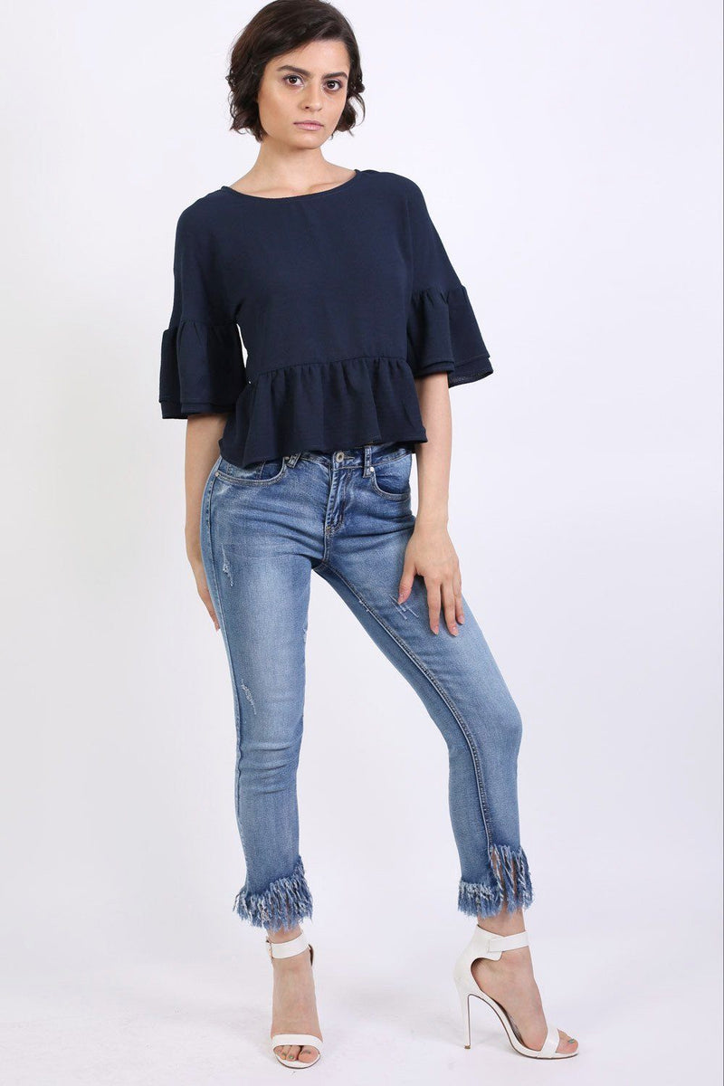 Drop Shoulder Deep Frill Sleeve And Hem Boxy Top in Navy Blue 4