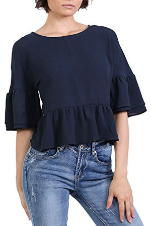 Drop Shoulder Deep Frill Sleeve And Hem Boxy Top in Navy Blue