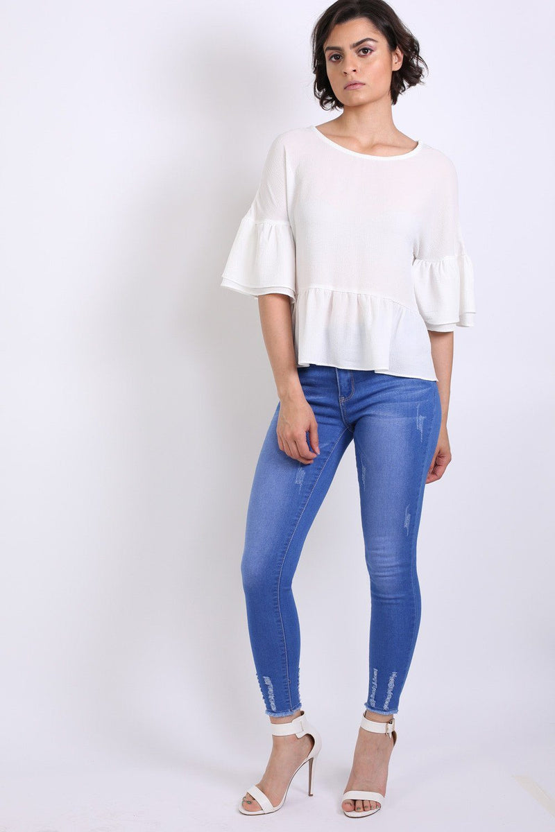 Drop Shoulder Deep Frill Sleeve And Hem Boxy Top in Ivory White 4