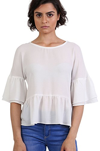 Drop Shoulder Deep Frill Sleeve And Hem Boxy Top in Ivory White