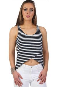 High Low Hem Stripe Vest Top in Navy Blue 2