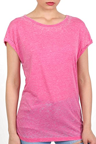 Turn Up Cuff Burnout Top in Magenta Pink