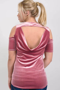 Velvet Cross Front Cold Shoulder High Low Top in Rose Pink MODEL BACK