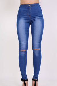 High Waisted Slash Knee Skinny Jeans in Denim MODEL FRONT 2