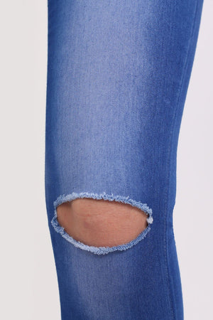 High Waisted Slash Knee Skinny Jeans in Denim MODEL CLOSE UP