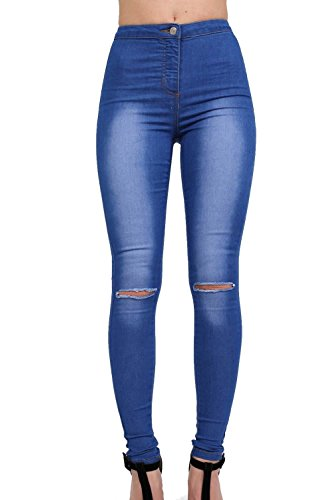 High Waisted Slash Knee Skinny Jeans in Denim