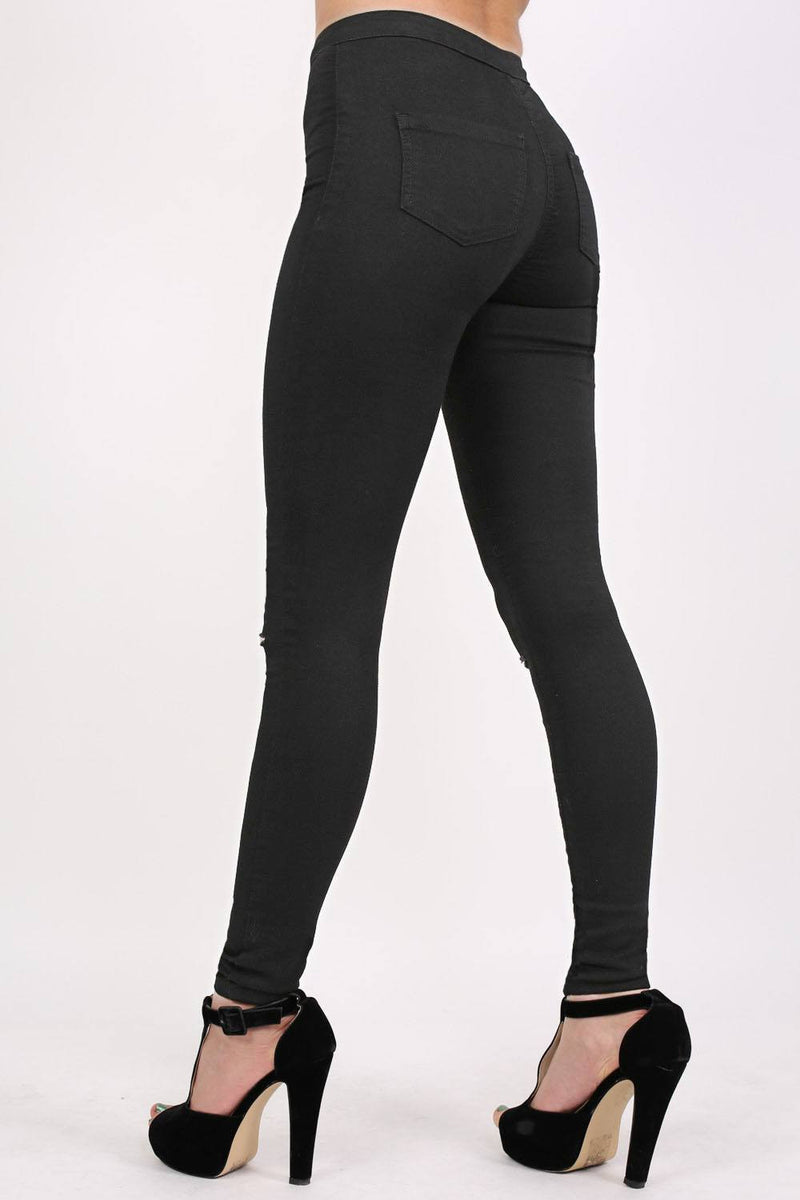 High Waisted Ripped Knee Skinny Jeans in Black MODEL BACK