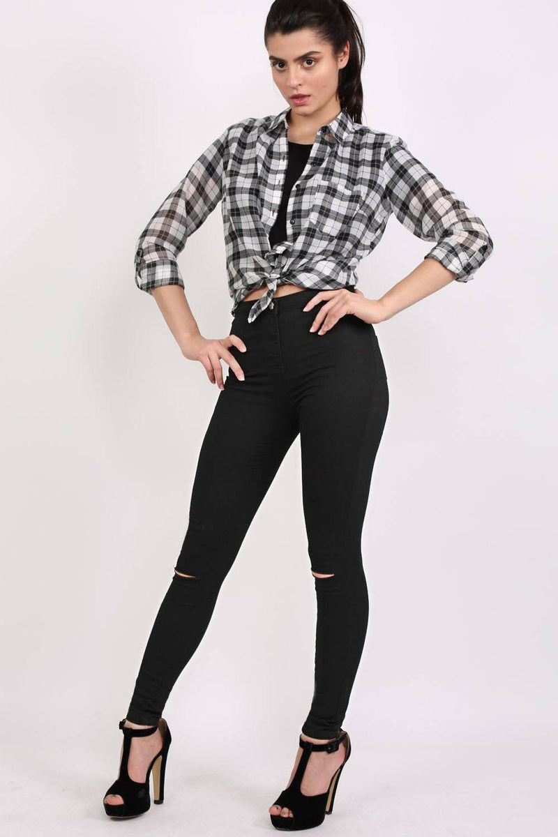 High Waisted Ripped Knee Skinny Jeans in Black MODEL FRONT 3