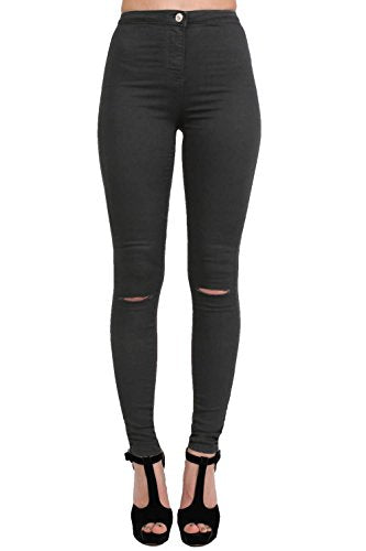 High Waisted Ripped Knee Skinny Jeans in Black