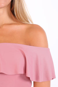 Plain Frill Detail Bardot Neckline Bodysuit in Rose Pink 4