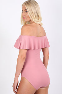 Plain Frill Detail Bardot Neckline Bodysuit in Rose Pink 2