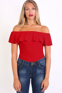 Plain Frill Detail Bardot Neckline Bodysuit in Red 2