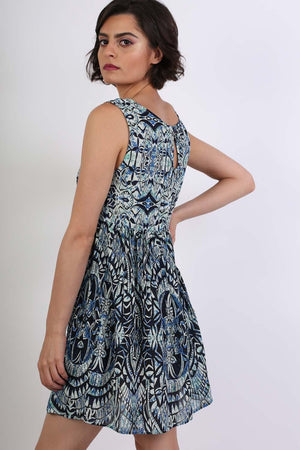 Tribal Print Smock Skater Mini Dress in Blue 2