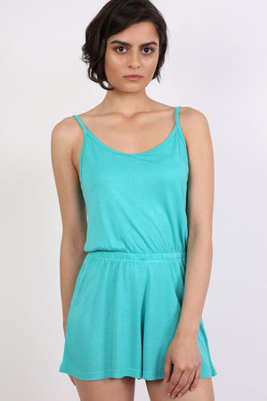 Plain Cami Strap Playsuit in Aqua Green 1
