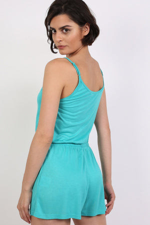 Plain Cami Strap Playsuit in Aqua Green 2