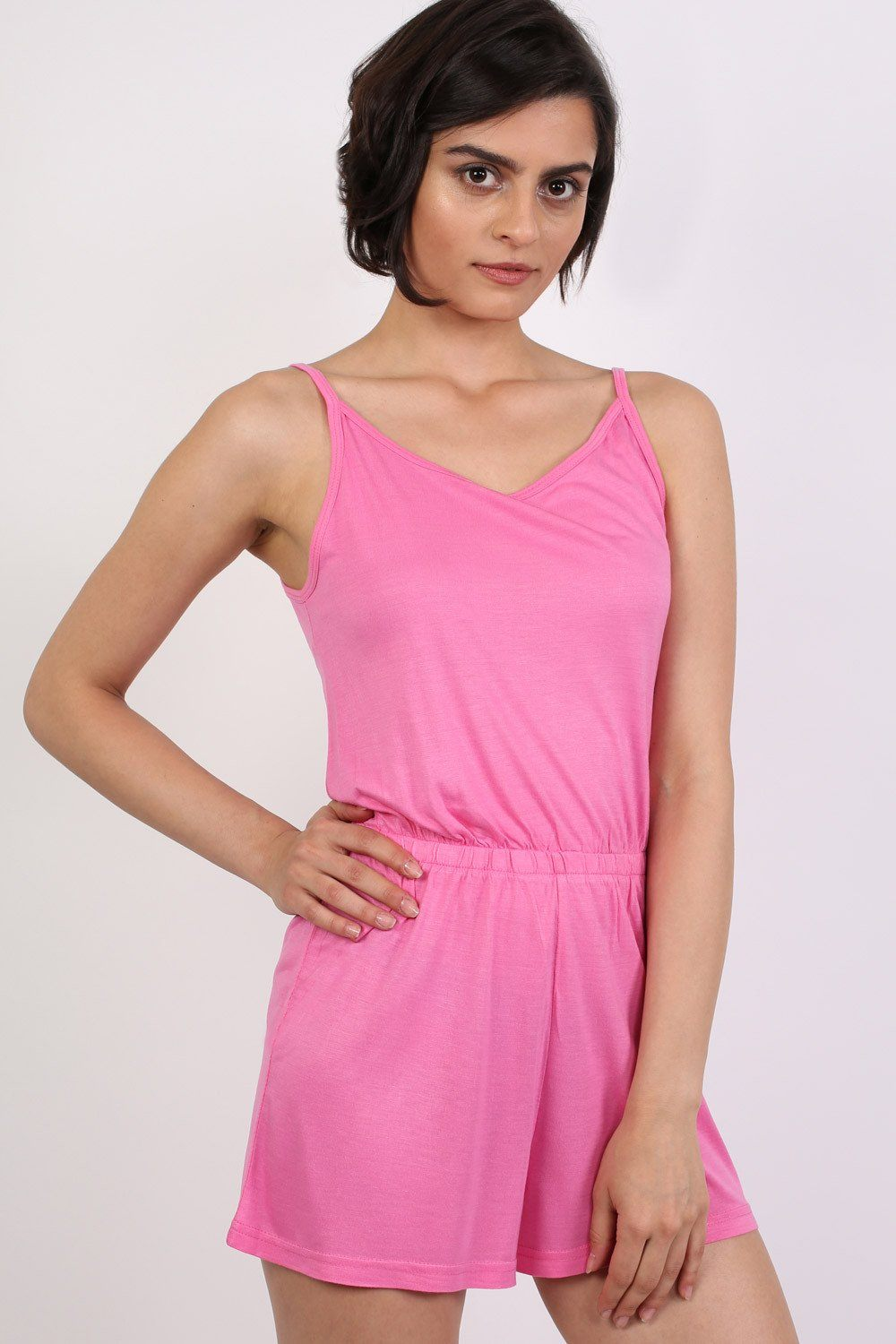 Plain Cami Strap Playsuit in Candy Pink 1