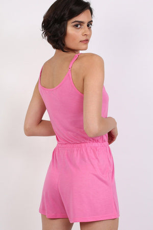 Plain Cami Strap Playsuit in Candy Pink 2