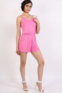 Plain Cami Strap Playsuit in Candy Pink 4