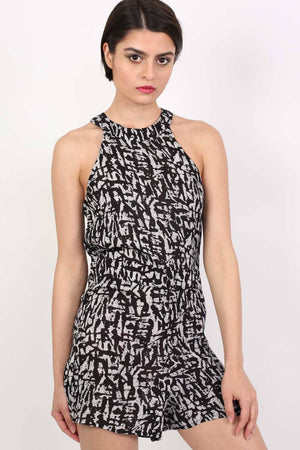High Neck Ethnic Print Playsuit in Black & White 1