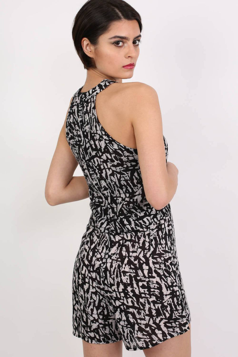 High Neck Ethnic Print Playsuit in Black & White 2
