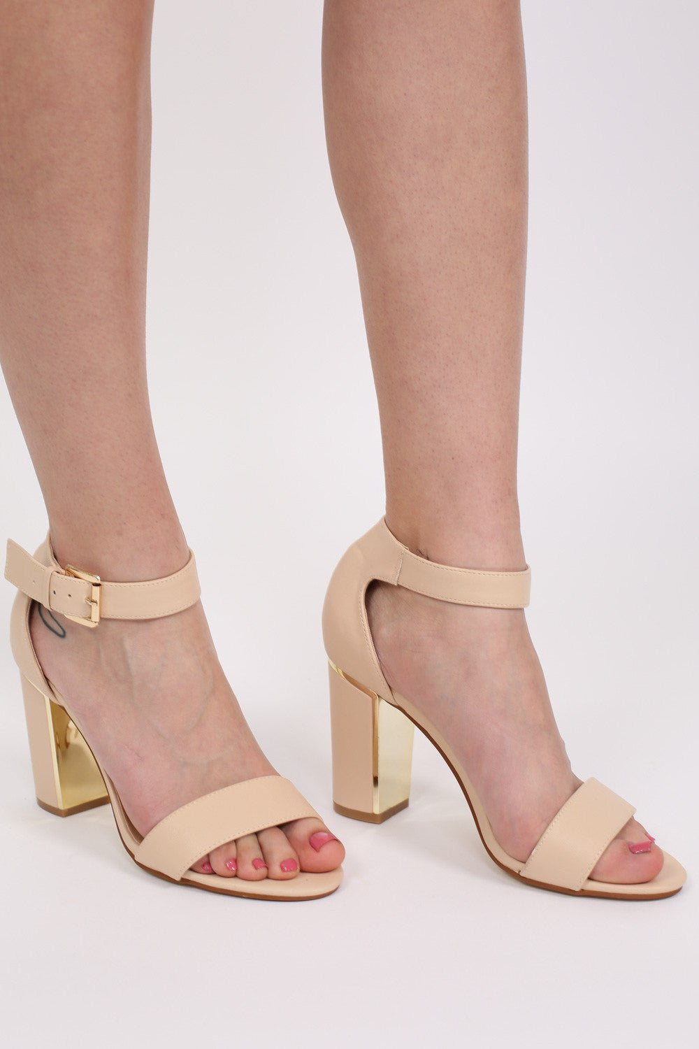 Block Heel Strappy Sandals in Nude MODEL FRONT