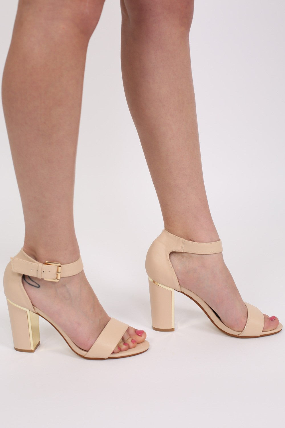 a98b4a87993c Block Heel Strappy Sandals in Nude MODEL SIDE