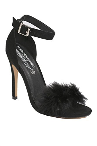 Faux Feather Strappy High Heel Sandals in Black