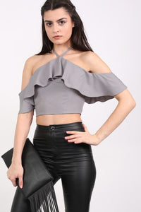 Tie Halter Neck Frill Crop Top in Grey MODEL FRONT