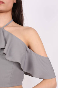 Tie Halter Neck Frill Crop Top in Grey MODEL CLOSE UP