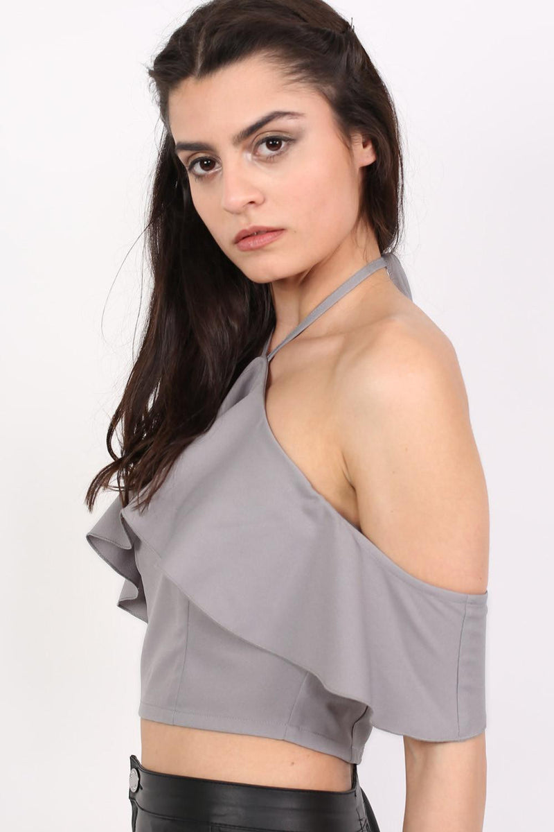Tie Halter Neck Frill Crop Top in Grey MODEL SIDE