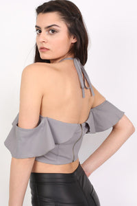 Tie Halter Neck Frill Crop Top in Grey MODEL BACK
