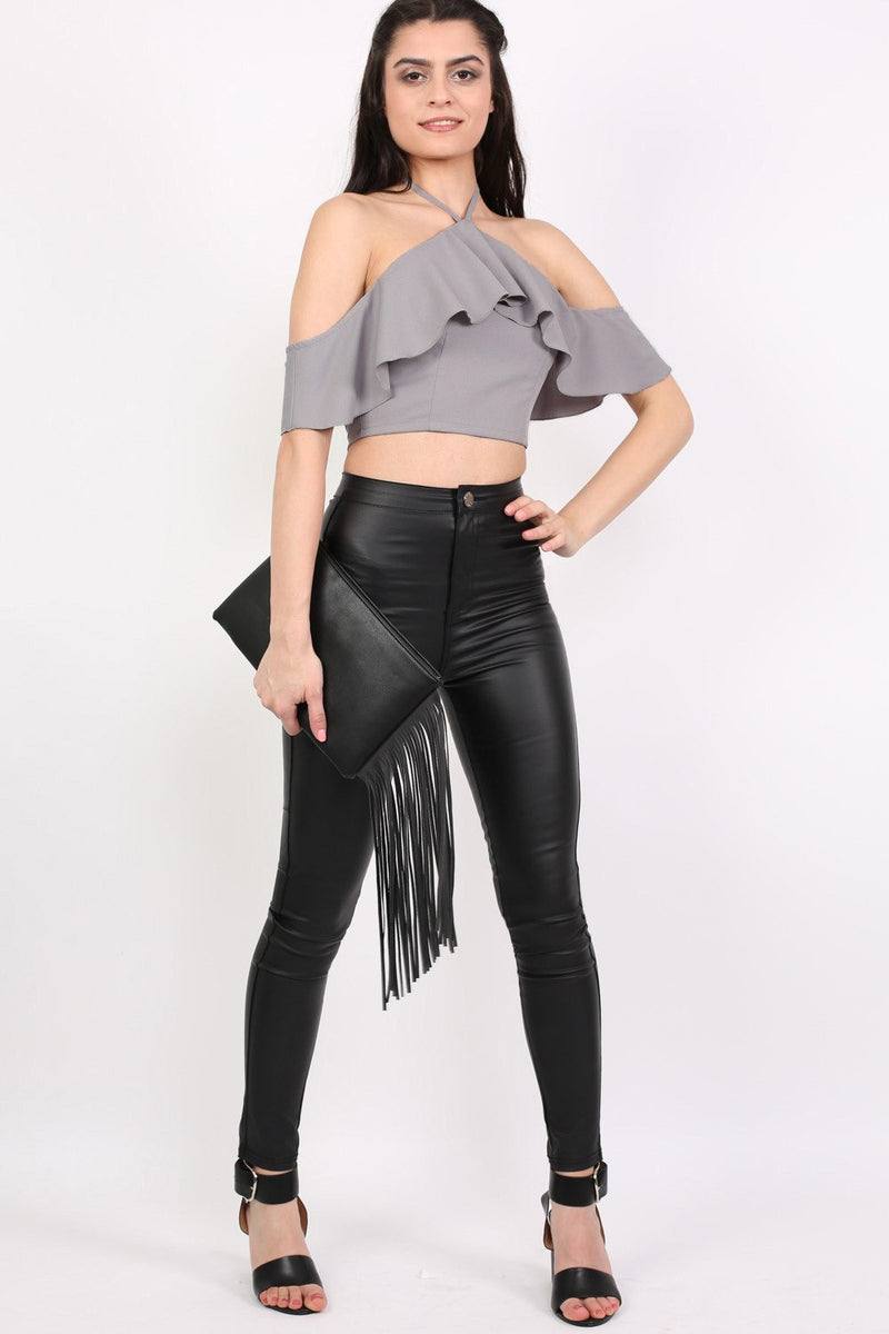 Tie Halter Neck Frill Crop Top in Grey MODEL FRONT 2