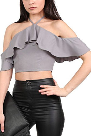 Tie Halter Neck Frill Crop Top in Grey