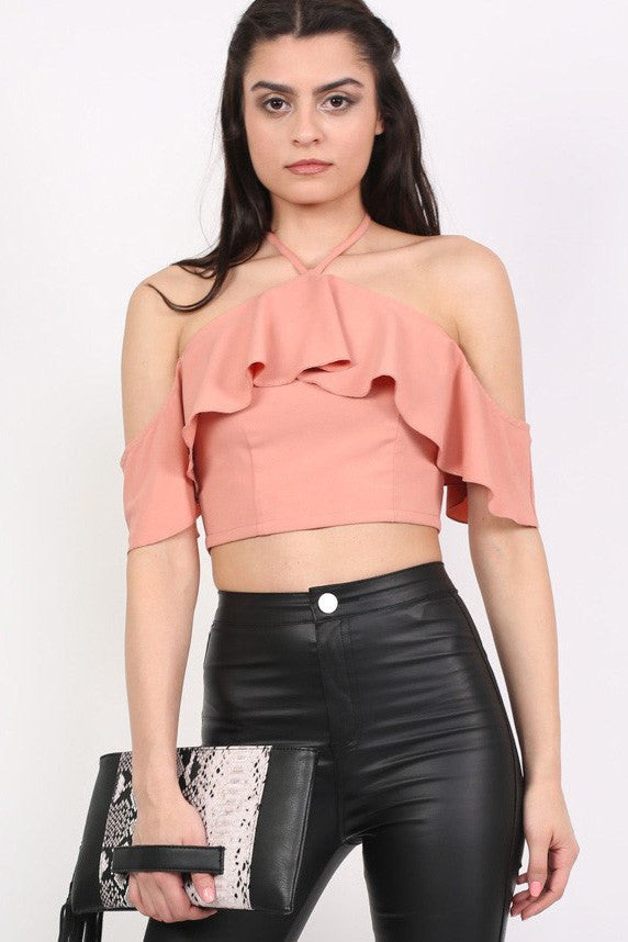 Tie Halter Neck Frill Crop Top in Dusty Pink MODEL FRONT