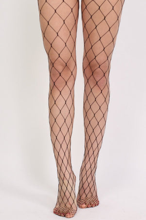 Oversized Net Diamond Shaped Fishnet Tights in Black 2