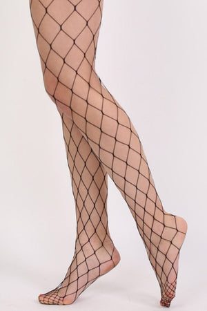 Oversized Net Diamond Shaped Fishnet Tights in Black 3