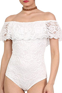 Lace Bardot Frill Bodysuit in Cream