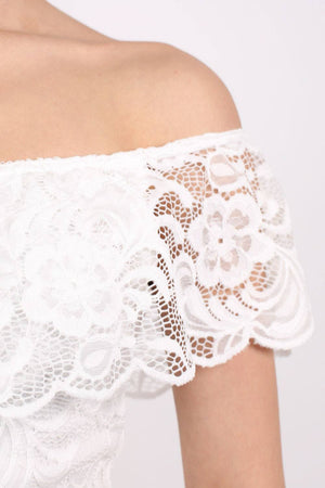 Lace Bardot Frill Bodysuit in Cream 4