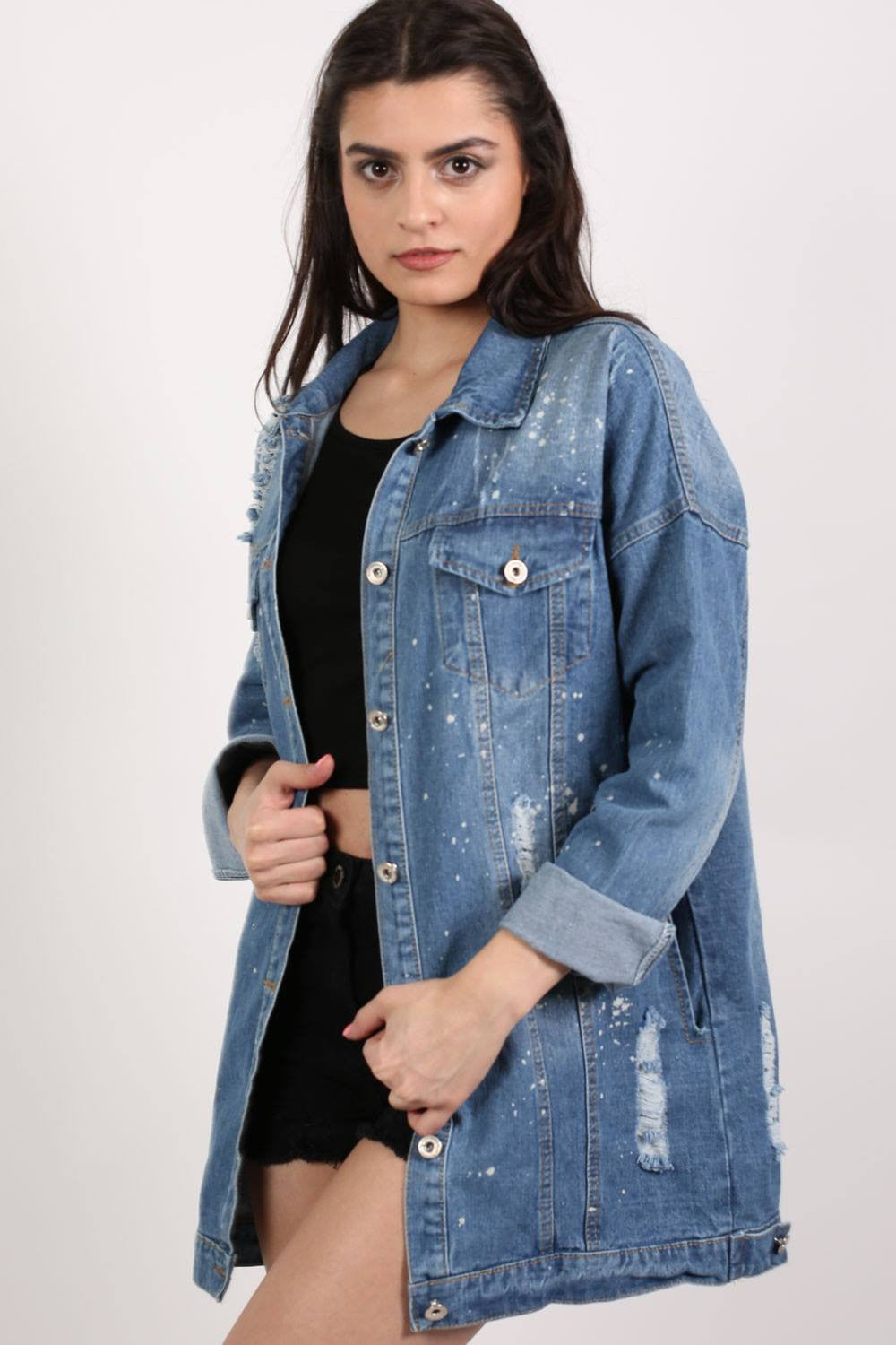 Oversized Paint Splattered Ripped Denim Jacket in Denim MODEL SIDE