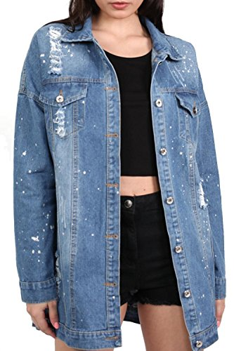 Oversized Paint Splattered Ripped Denim Jacket in Denim