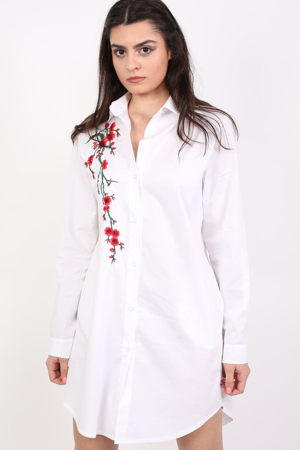 Floral Embroidered Shirt Dress in White MODEL FRONT