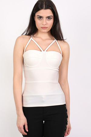 Ribbed Bandage Strappy Top in Cream MODEL FRONT