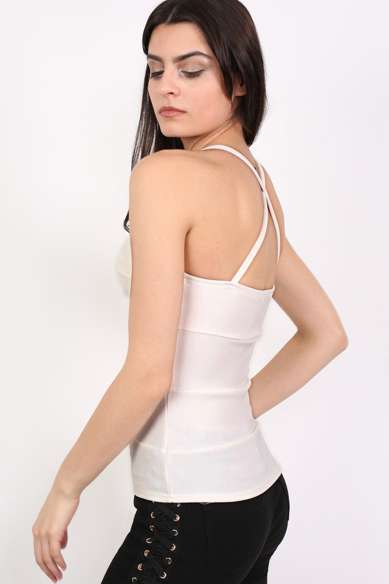 Ribbed Bandage Strappy Top in Cream MODEL SIDE