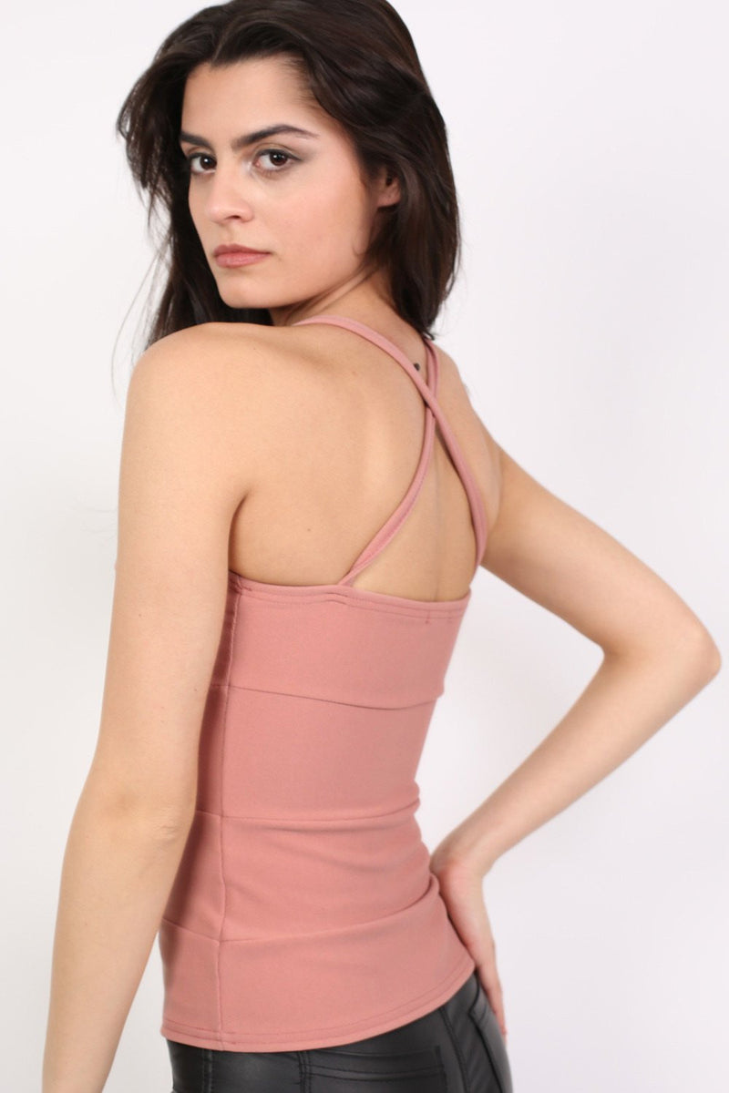 Ribbed Bandage Strappy Top in Rose Pink MODEL SIDE