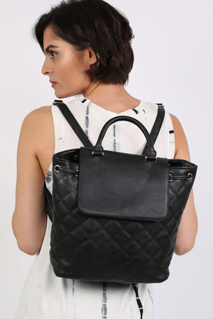 Quilted Detail Backpack in Black 1