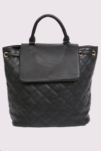 Quilted Detail Backpack in Black 5