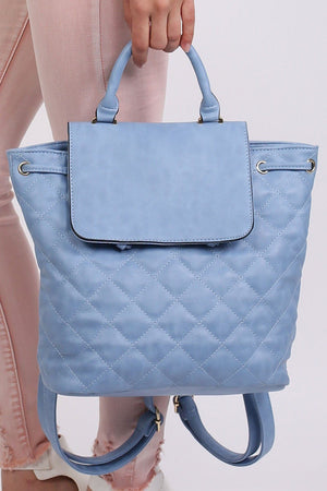 Quilted Detail Backpack in Aqua Blue 1