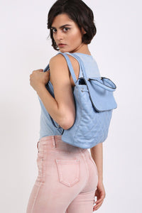 Quilted Detail Backpack in Aqua Blue 2